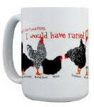 mug with different breeds of chickens around it